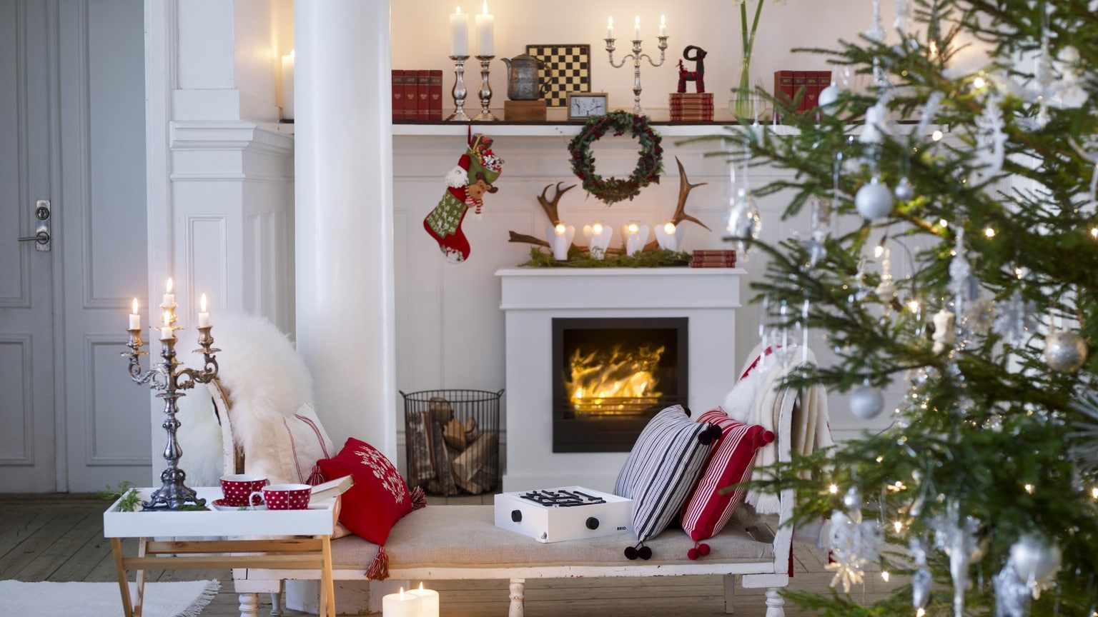 Stylish modern living room decorated for Christmas holiday