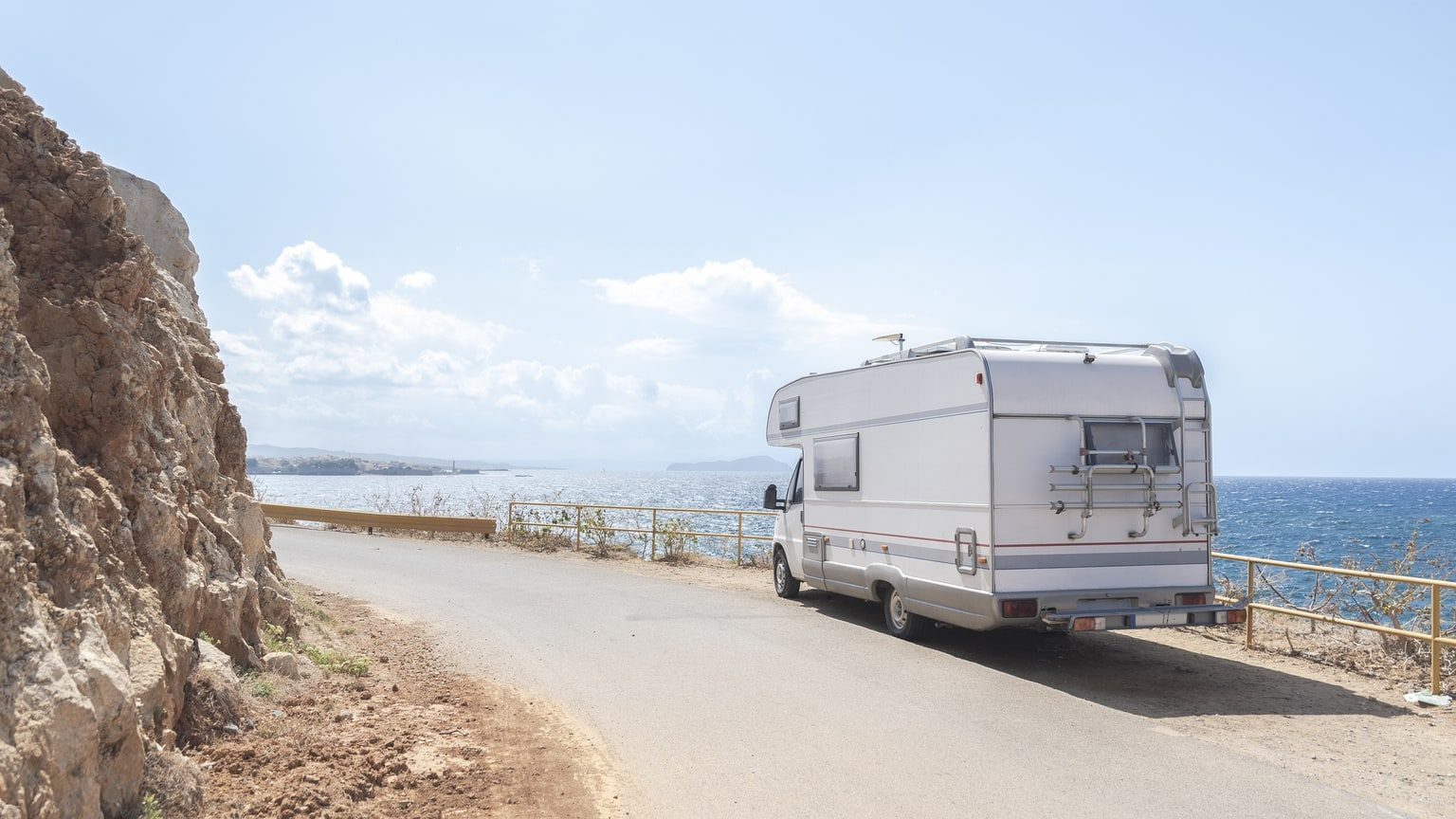 RV Parked Off Road By Sea