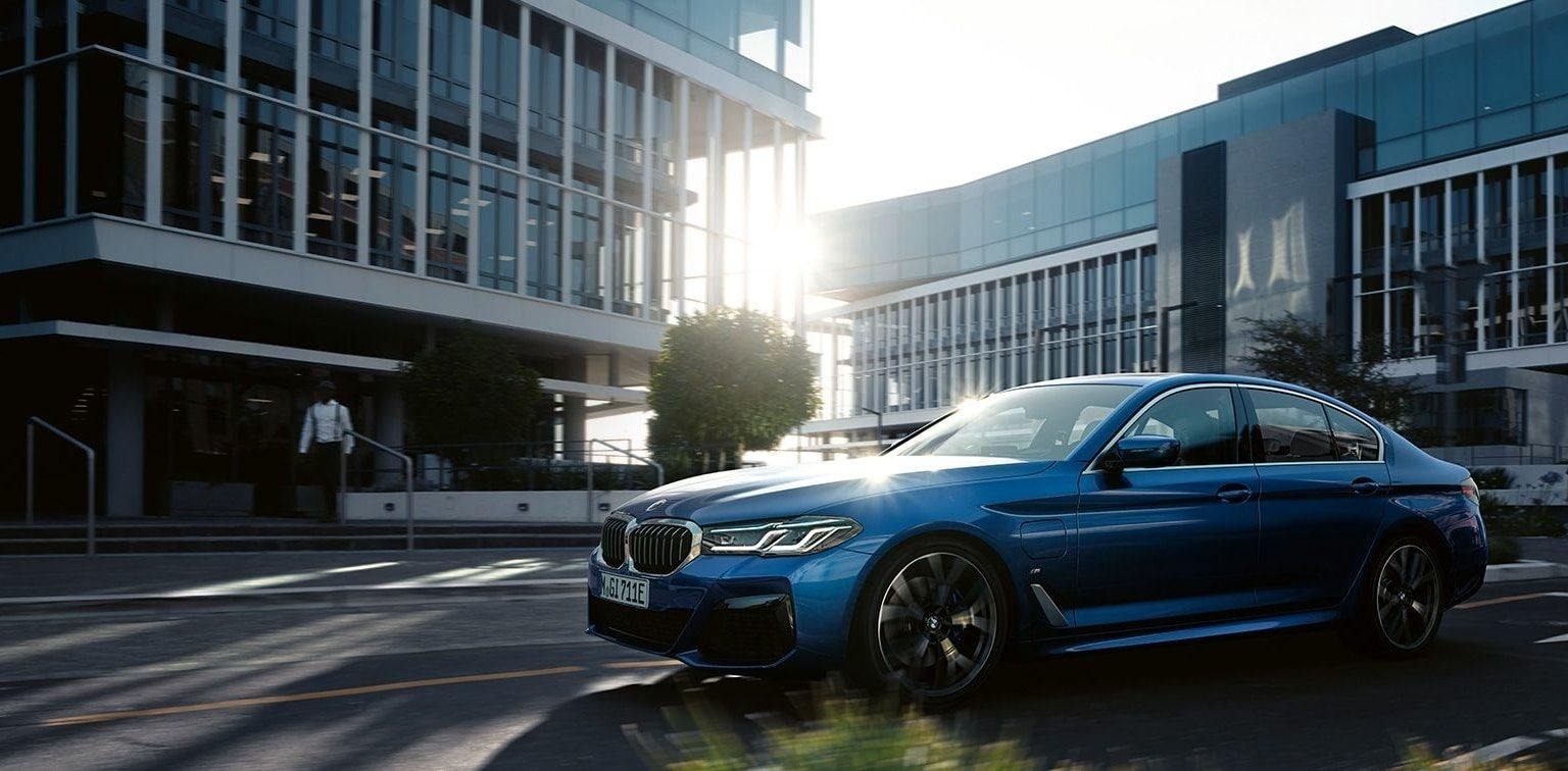Blue BMW 5 Series sedan