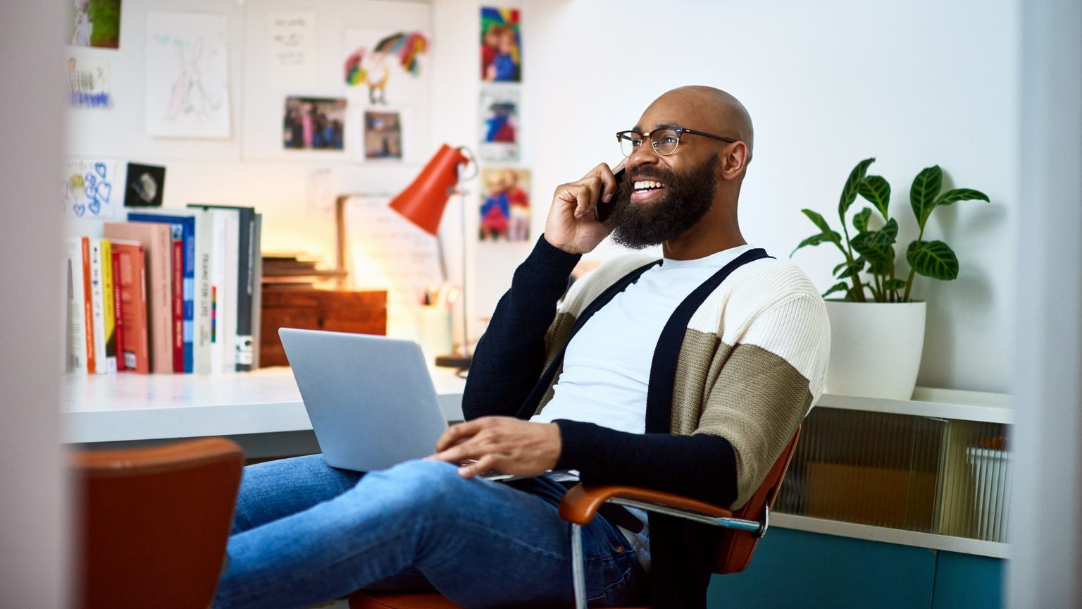 Sole proprietorship business owner working from home office