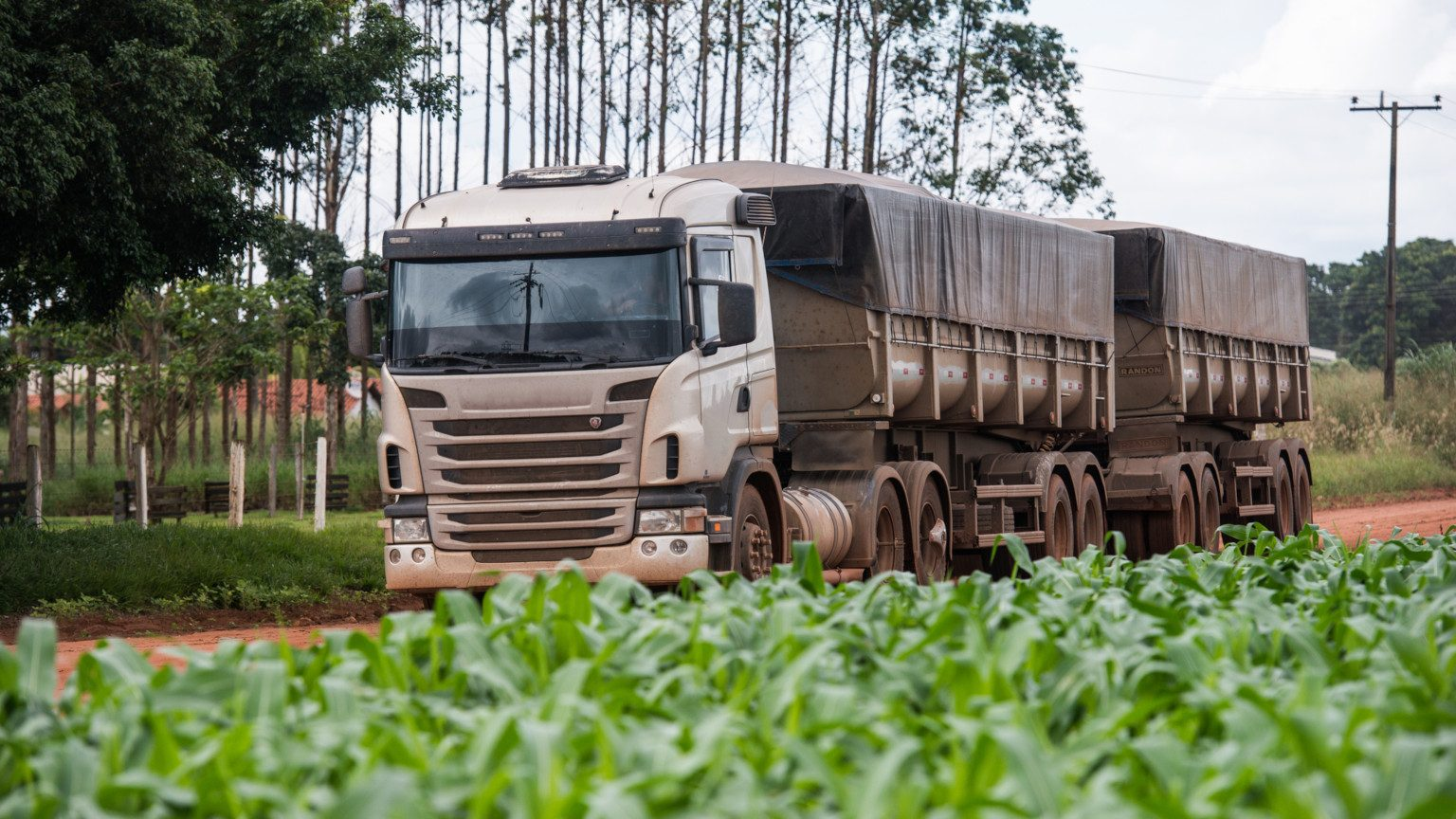 A transport truck carrying commodities driving past a field