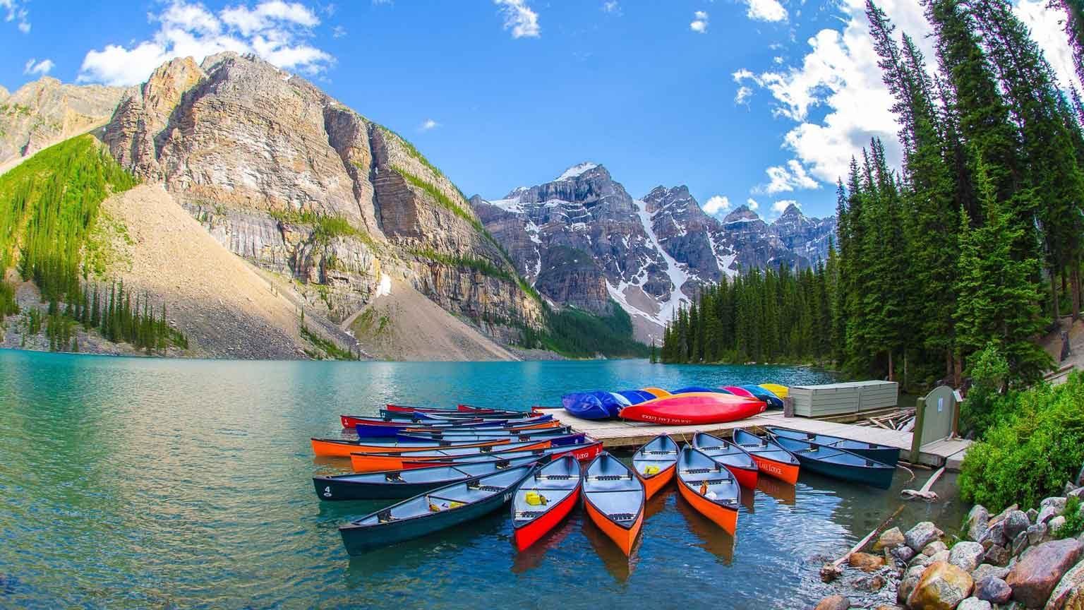 Boats Moored On Shore, Canada, Calgary