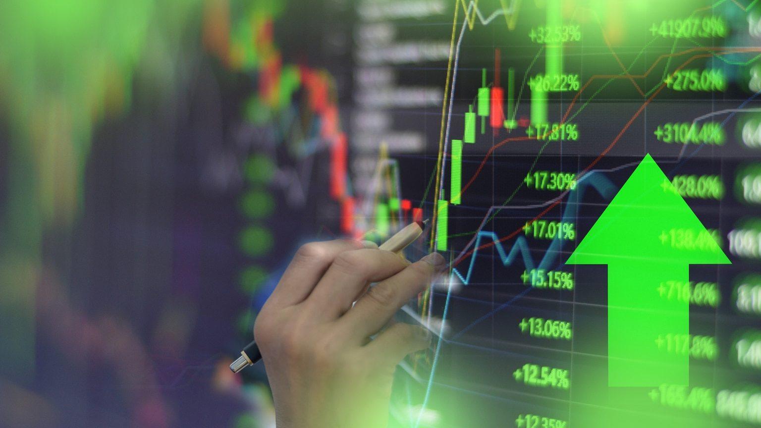 Investment chart showing upward-trending stocks