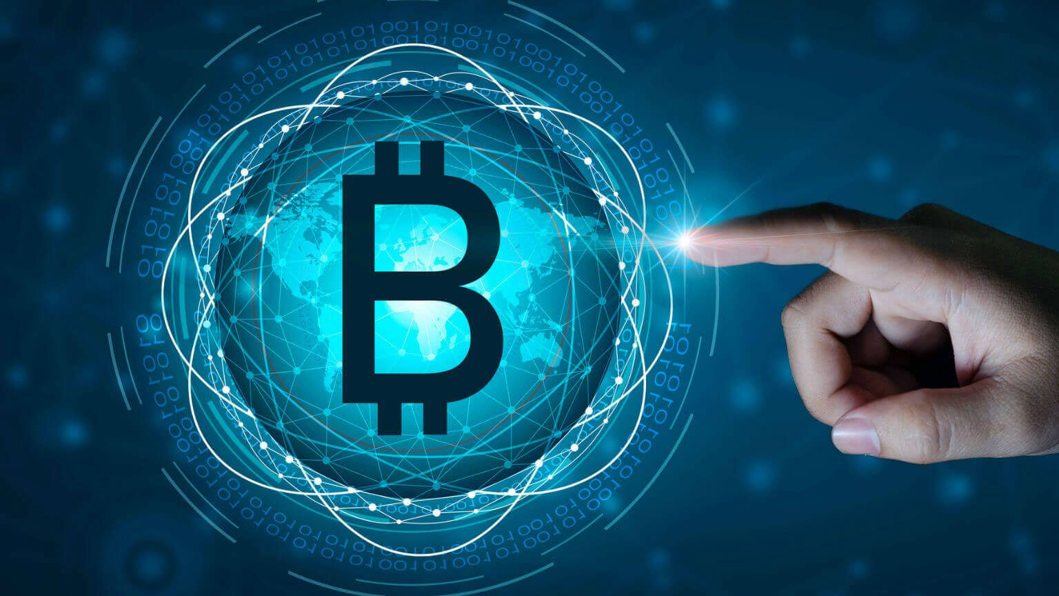 Digital Composite Image Of Cropped Hand Touching Bitcoin Icon