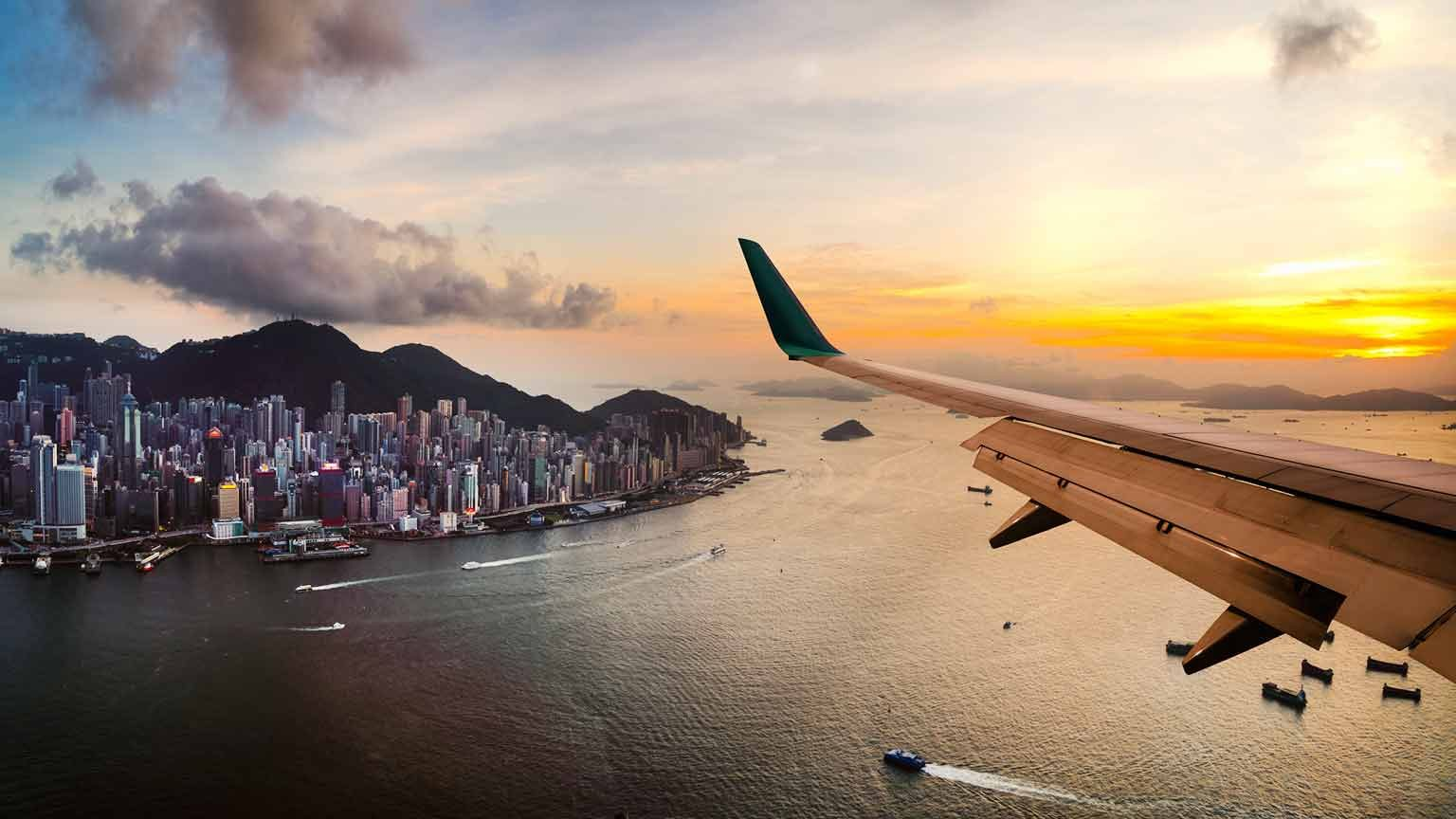 Plane over Hong Kong