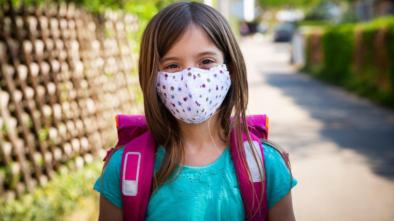 kid wearing Cloth Masks