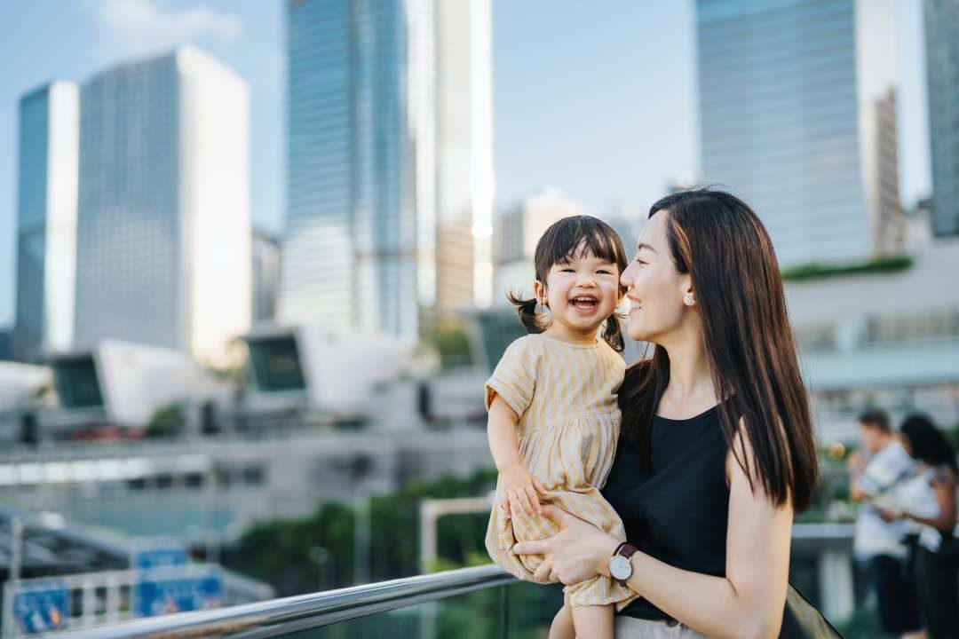 woman with daughter in hong kong