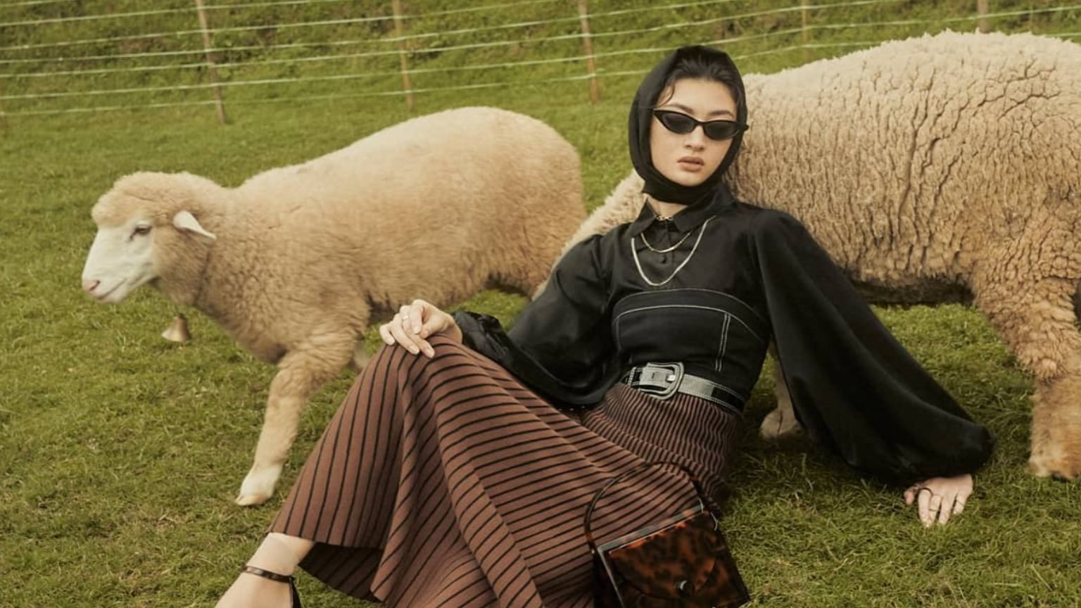 Model in Zalora maxi skirt