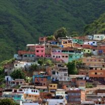 Colorful houses on a mountain in Venezuela