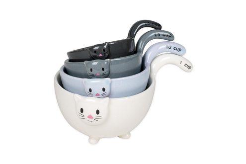 Ceramic Cat Measuring Cups & Baking Bowls