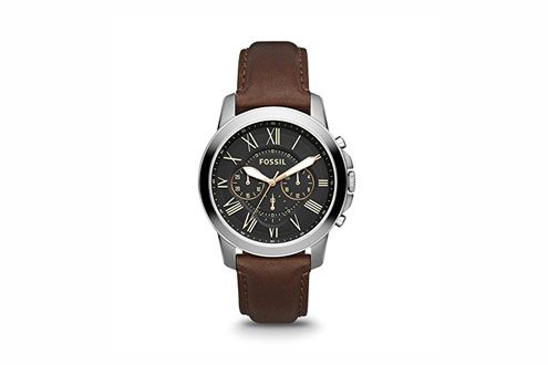 Fossil Leather & Stainless Steel Watch