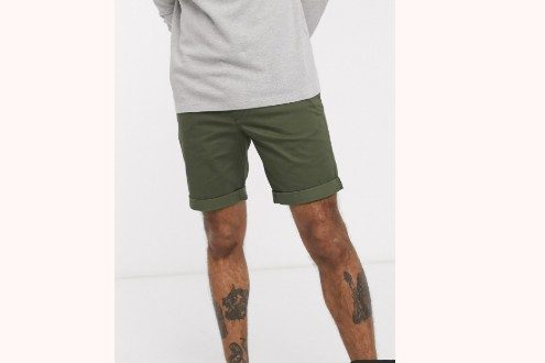 Selected Homme organic cotton chino shorts in khaki