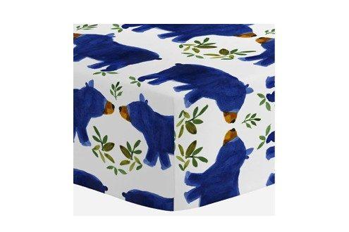 Carousel Designs Blue Woodland Bear Crib Sheet