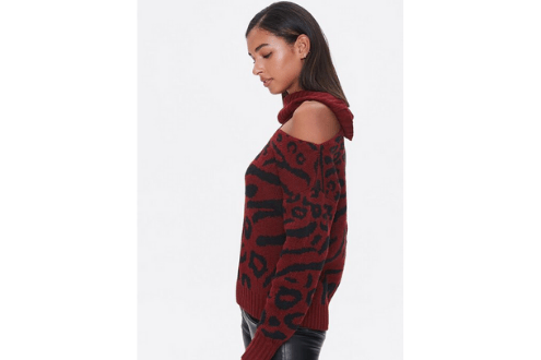 Leopard Print Cutout Sweater
