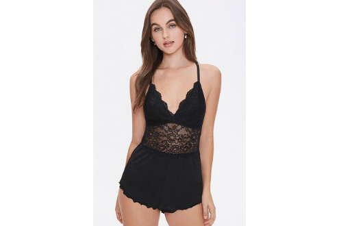 Scalloped Floral Lace Teddy