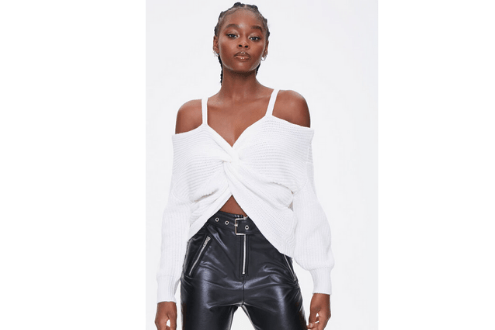 Ribbed Twist-Front Sweater
