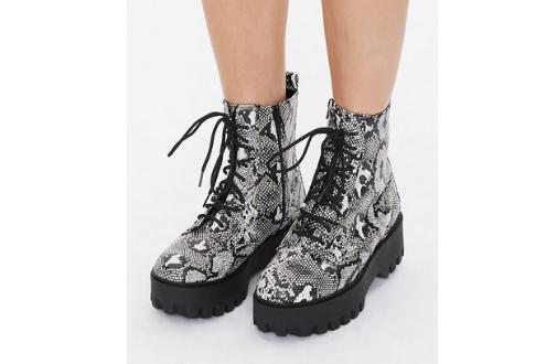 Faux Snakeskin Platform Boots