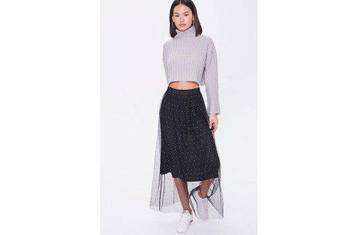 Faux Gem Mesh Midi Skirt