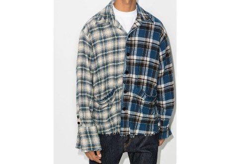 Greg Lauren check-pattern panelled shirt