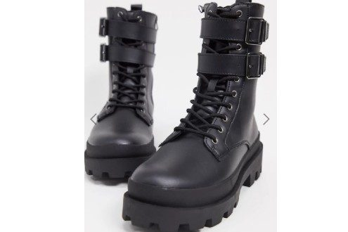 Lace-up boots in black faux leather with double strap detail