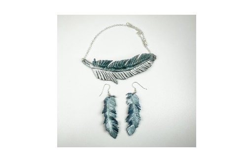 Leather Feather Necklace and Earrings, Bluebird feather