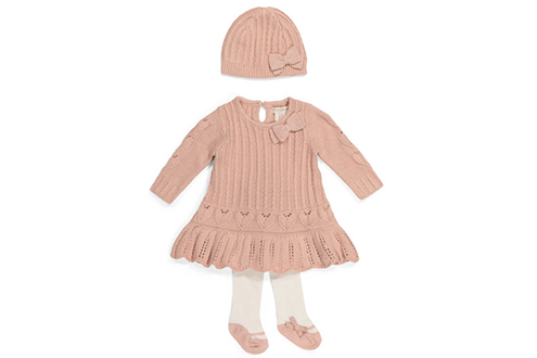 Cynthia Rowley newborn girls sweater dress with tights & hat