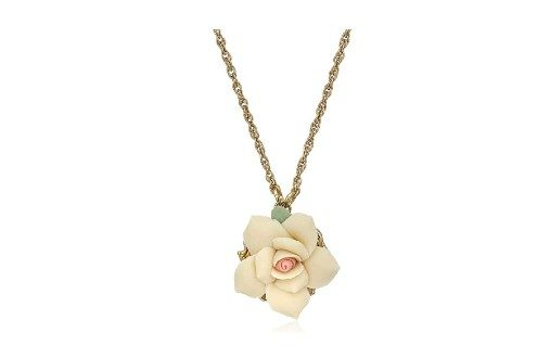 1928 Jewelry Gold-Tone Porcelain Rose Pendant