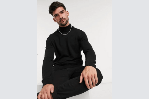 roll neck sweater in black
