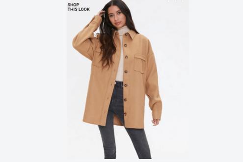 Drop-shoulder button-front jacket