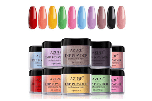 Dip powder nail set for nail art 10 fruity colors collection