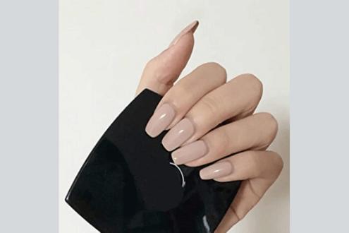 Brinote glossy press on nails nude long square fake nails
