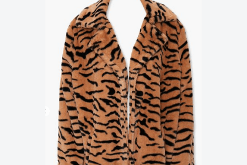 Tiger Print Faux Fur Coat