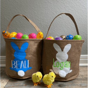 Easter bucket, bunny tail basket , personalized embroidered easter basket
