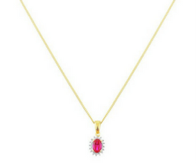 18ct Gold Plated Silver Created Ruby &Diamond Accent Pendant