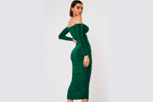 dark green bardot slinky ruched bodycon midaxi dress
