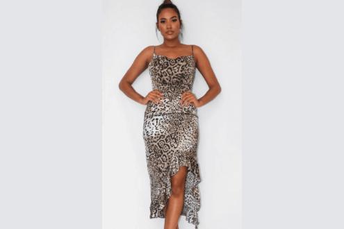gray leopard ruffle side midi dress
