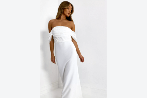 white mesh organza bandeau gown