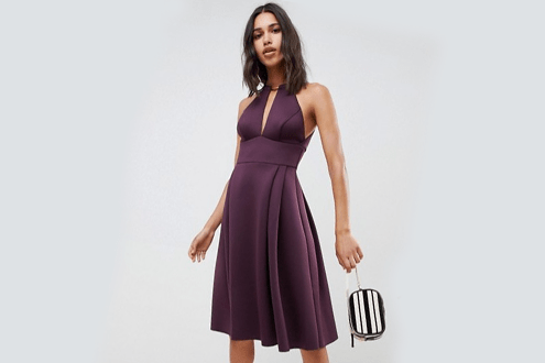 Design Scuba Neck Trim Midi Dress