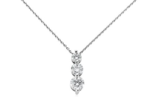 Three-stone drop diamond pendant