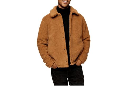 Borg shetland fleece coach jacket