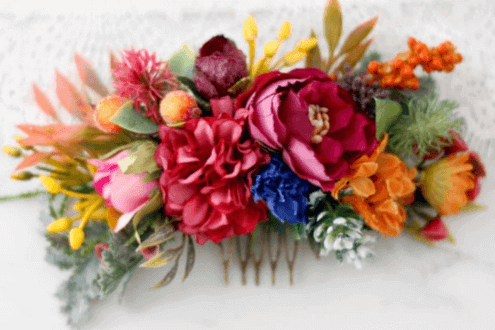 Colorful flower comb for wedding