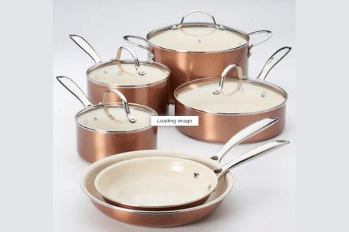 Food network™ 10-pc. Nonstick ceramic copper cookware set