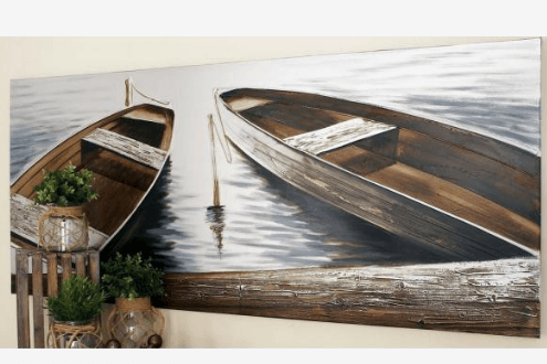 """Boats by the Quay"" Canvas Wall Art"