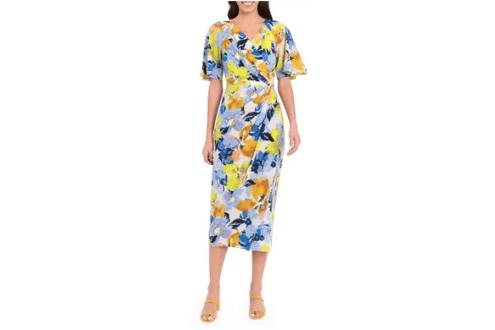 Floral print faux wrap midi dress
