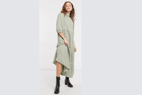 tiered midi smock shirt dress with pin tucks in khaki