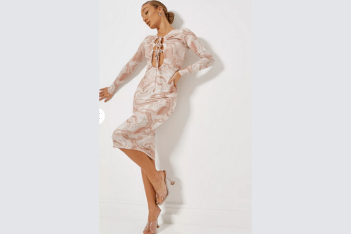 pink ruched front double cut out midaxi dress