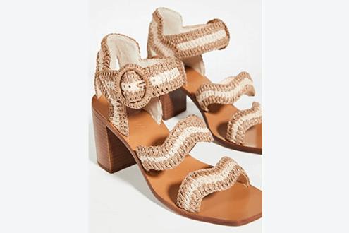 Wavy raffia sandals