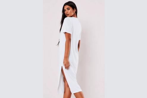 white basic midi t shirt dress