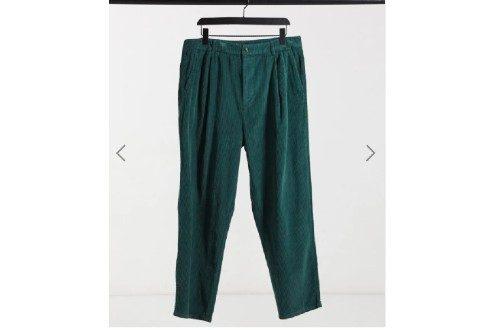 Wide leg pants with pleats in corduroy